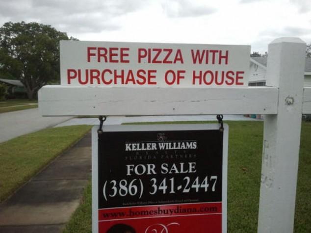 Pizza gratis con la compra de esta casa