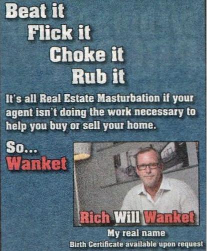 Agente inmobiliario que bromea con su apellido
