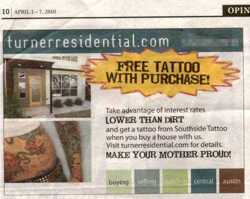 Oferta de tatuaje al comprar una casa