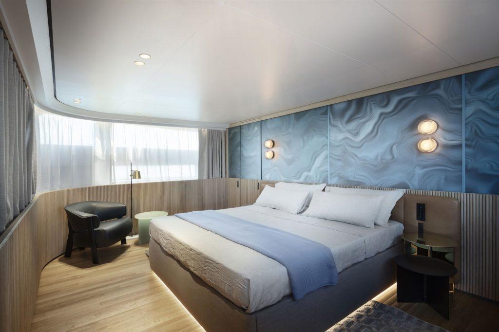El dormitorio de este lujoso yate