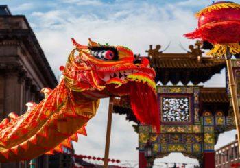 La decoración roja del año nuevo chino